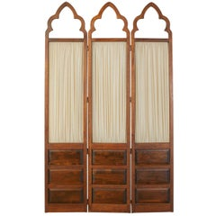 English Gothic Revival Style Three-Panel Oak Dressing Screen