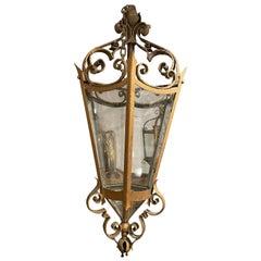 English Gothic Wrought Iron 6 Glass Panel Hanging Lantern, 19th Century