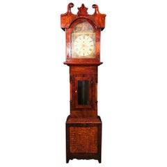 English Grandfather Clock 19th Century with a Mahogany Case