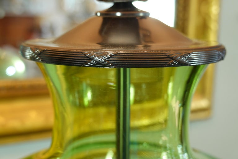 Patinated English Green Crystal Urn Form Lamp with Etched Fern Design by Lucy Cope For Sale