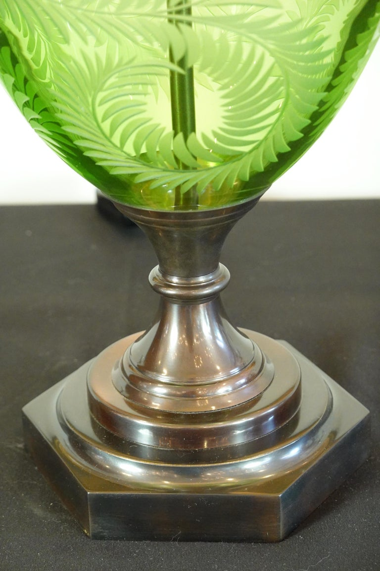 Contemporary English Green Crystal Urn Form Lamp with Etched Fern Design by Lucy Cope For Sale
