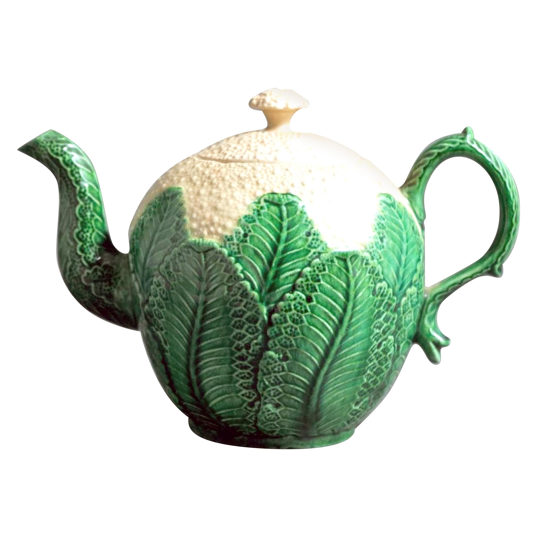 English Green-Glazed Creamware Pottery Cauliflower Teapot and Cover