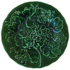 English Green Majolica Geranium Plate, circa 1880