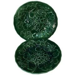 English Green Majolica Geranium Plate, circa 1880