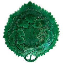 English Green Majolica Handled Platter, circa 1890