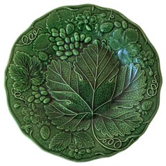 English Green Majolica Strawberries Plate, circa 1880