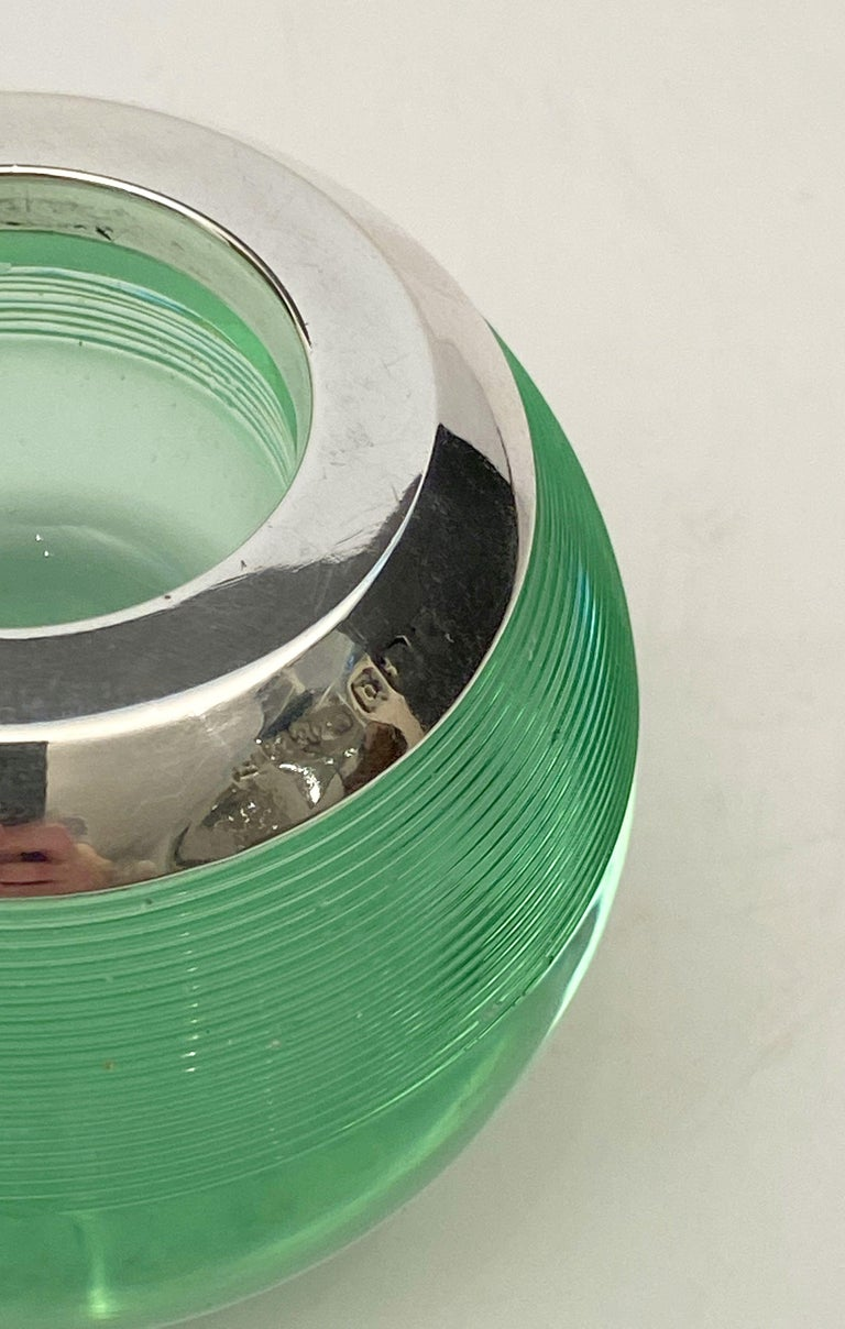 English Green Match Striker with Sterling Silver Rim For Sale 5