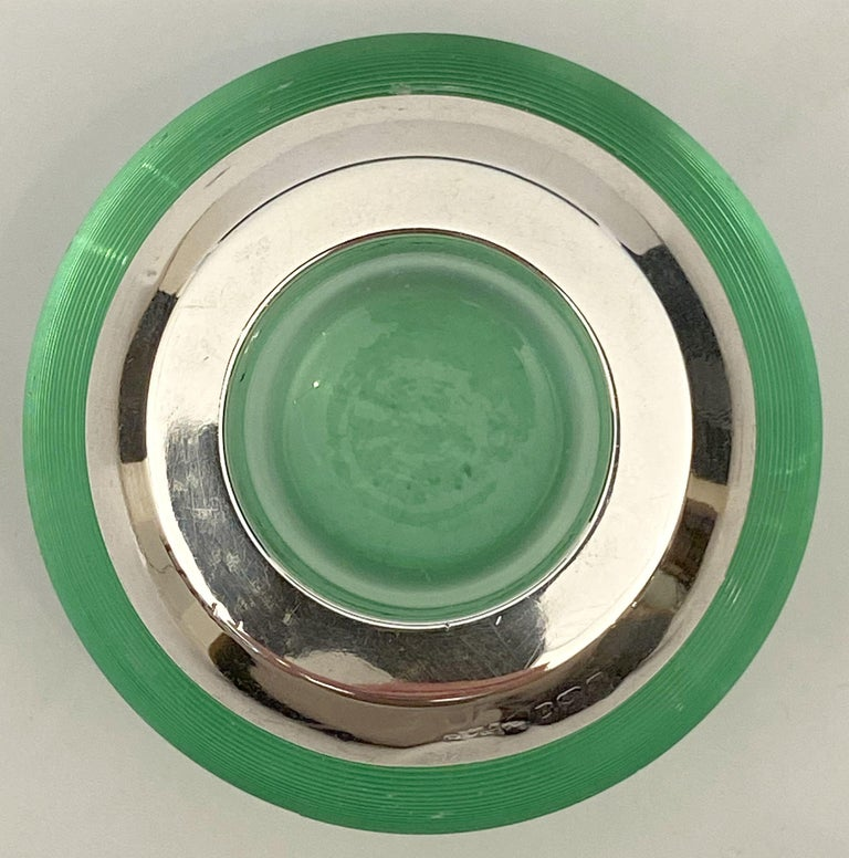 English Green Match Striker with Sterling Silver Rim For Sale 6