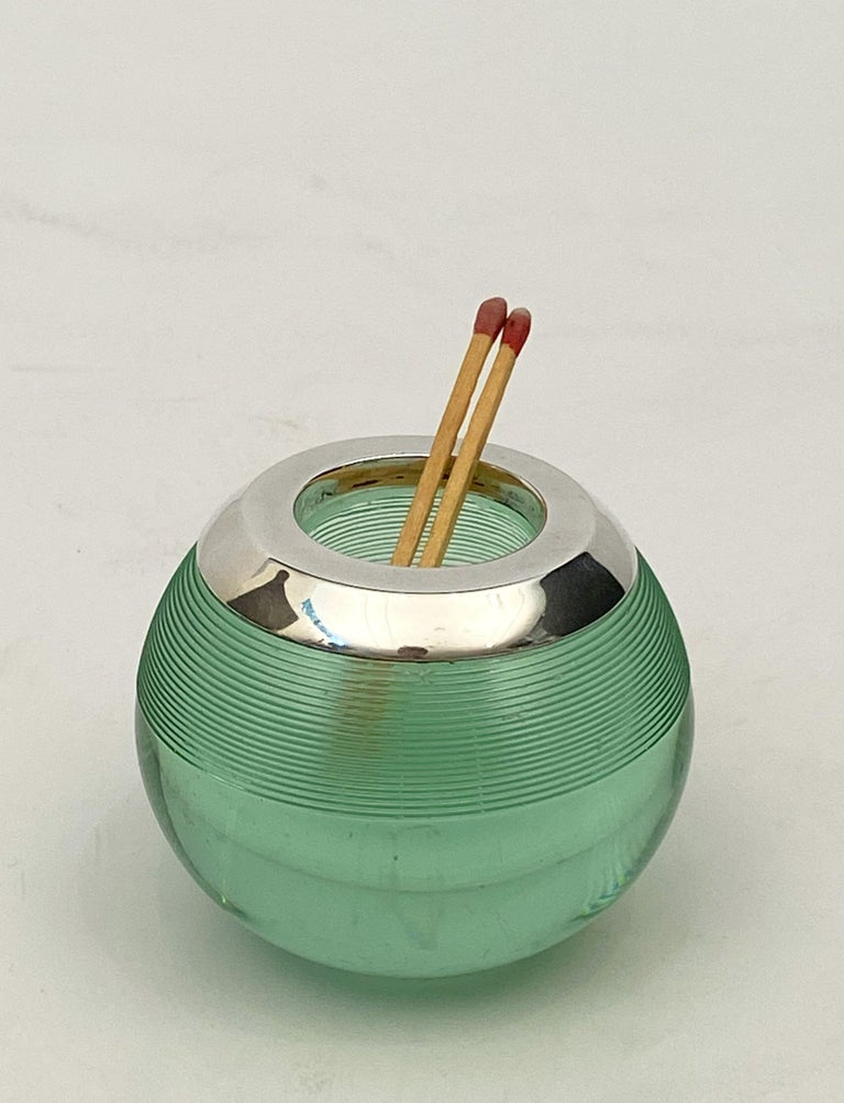 English Green Match Striker with Sterling Silver Rim For Sale 8