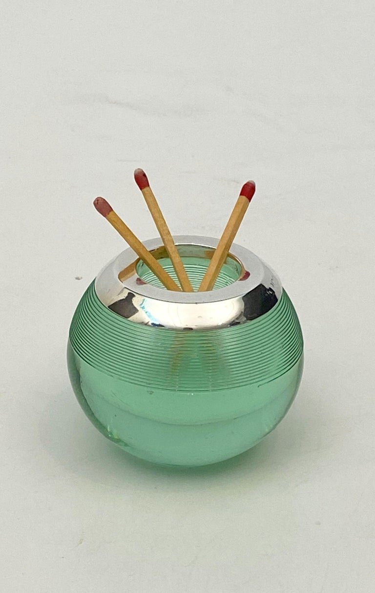 English Green Match Striker with Sterling Silver Rim For Sale 14