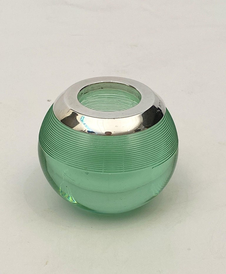 20th Century English Green Match Striker with Sterling Silver Rim For Sale