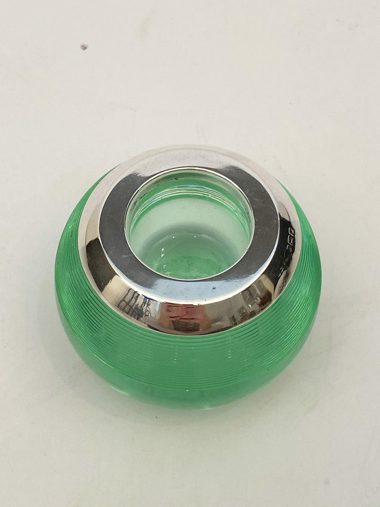 Metal English Green Match Striker with Sterling Silver Rim For Sale