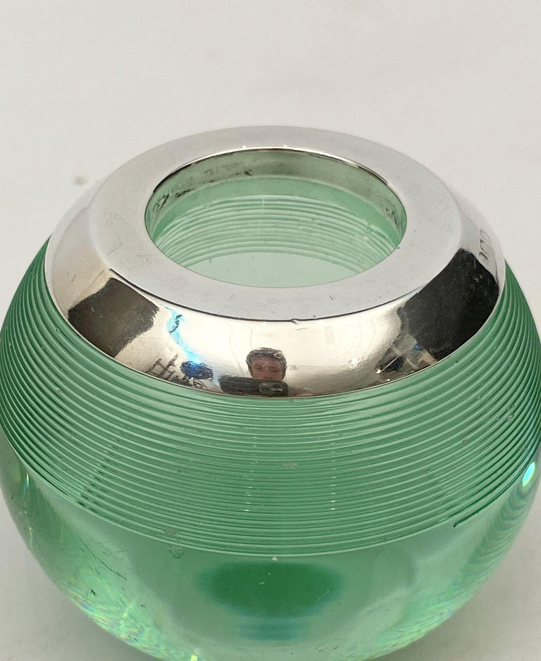 English Green Match Striker with Sterling Silver Rim For Sale 1