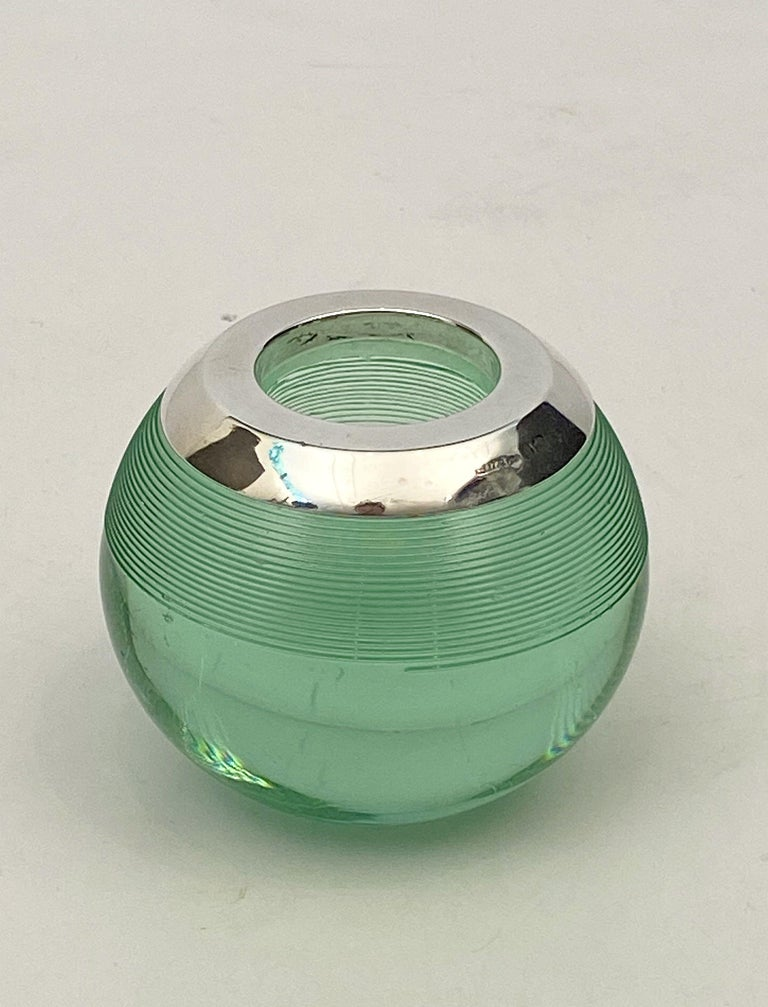 English Green Match Striker with Sterling Silver Rim For Sale 2