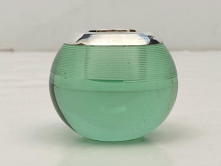 English Green Match Striker with Sterling Silver Rim For Sale 3