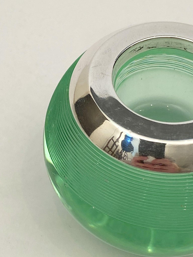 English Green Match Striker with Sterling Silver Rim For Sale 4