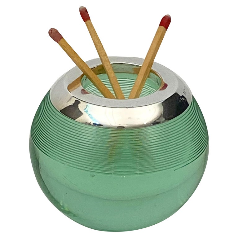 English Green Match Striker with Sterling Silver Rim For Sale