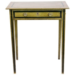 English Green Painted One Drawer Side Table