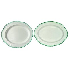 English Green Shell-Edged Pearlware Pottery Dishes,  Davenport, circa 1800