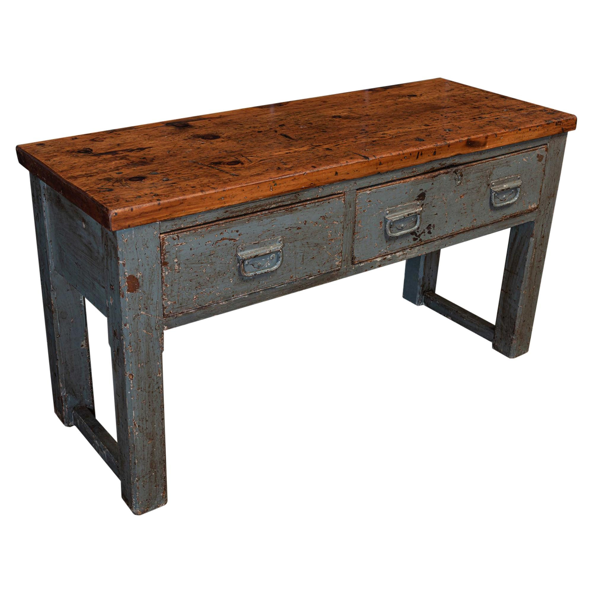 English Grey Painted Workshop Table or Kitchen counter