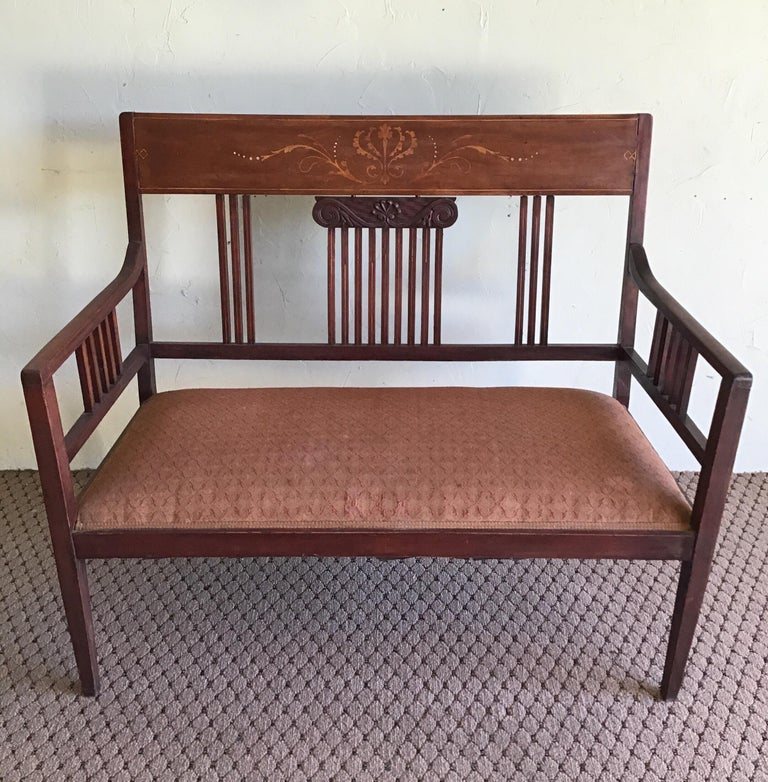 1-6001 English upholstered hall bench with inlay ed fruitwood design Has original fabric Measures: Seat height 22