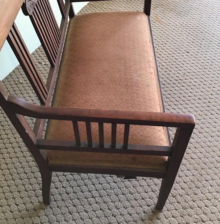 Hardwood English Hall Bench, circa 1920s For Sale