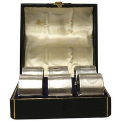 English Hall Marked Silver Early 20th Century Set of 6 Boxed Napkin Rings
