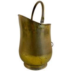 English Hammered Brass Kindling Scuttle, circa 1930