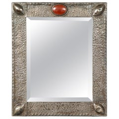 English Hammered Pewter Mirror