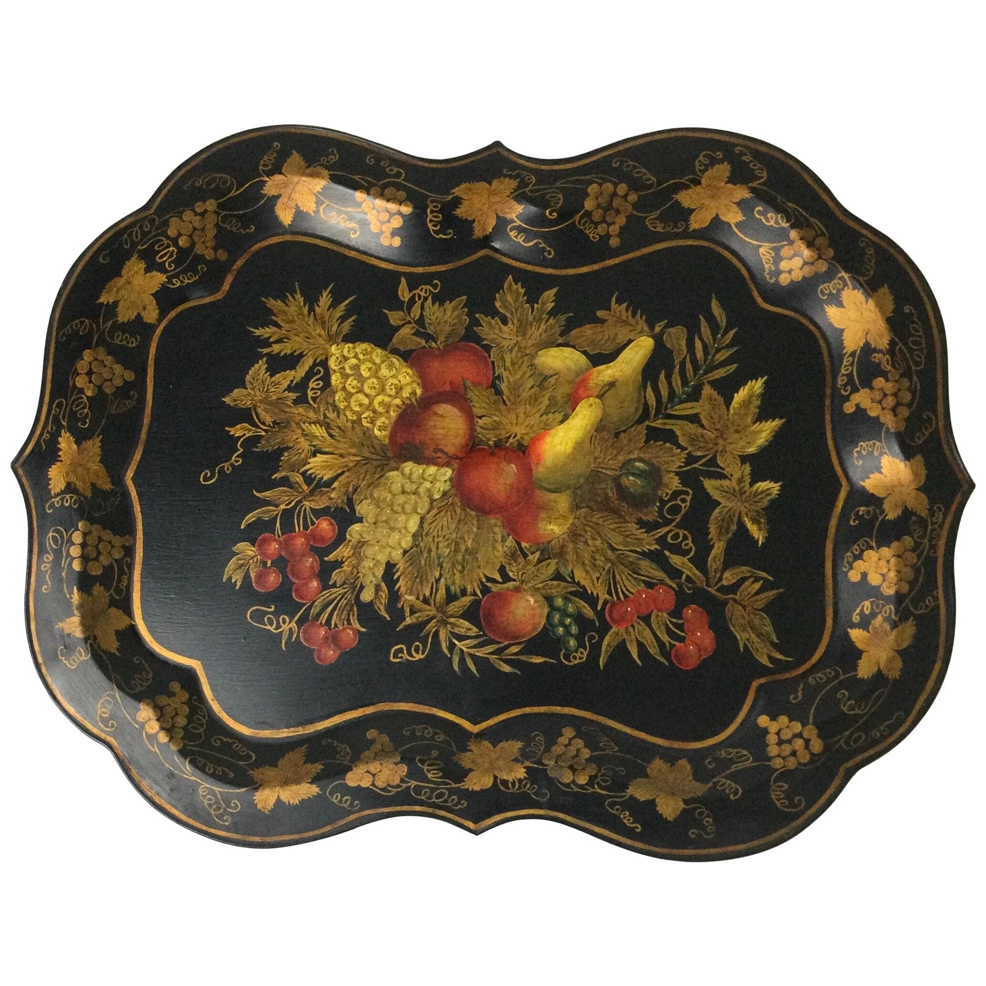 English Hand Painted Fruit and Vines Tole Tray