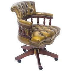 Bespoke English Handmade Leather Captains Desk Chair Emerald Green