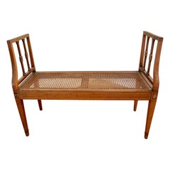 English Hepplewhite Inlaid Mahogany Window Seat with Caned Seat