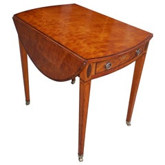 English Hepplewhite Oval Satinwood and Ebony Inlaid Pembroke Table, Circa 1790