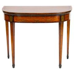 English Hepplewhite Satinwood Game Table