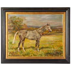English Horse Painting Dated and Signed W. Wasdell Trickett