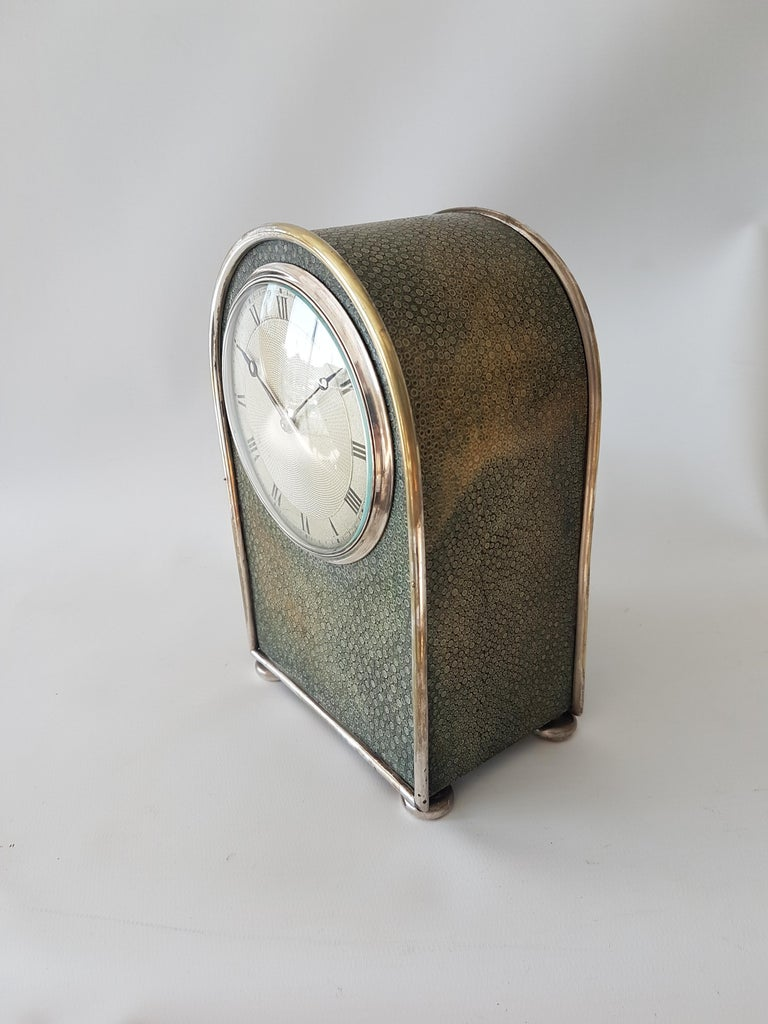 English Hump Backed Shagreen and Silvered Metal Mantel Clock Probably by Jump  In Good Condition For Sale In London, GB