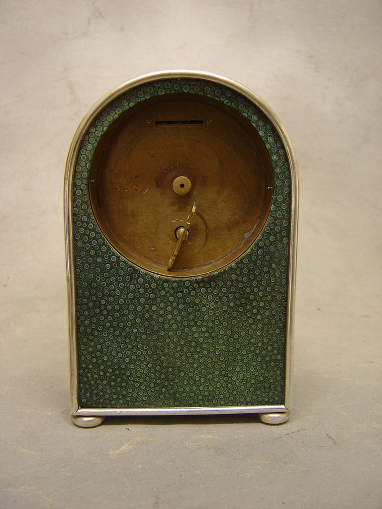 Bronze English Hump Backed Shagreen and Silvered Metal Mantel Clock Probably by Jump  For Sale