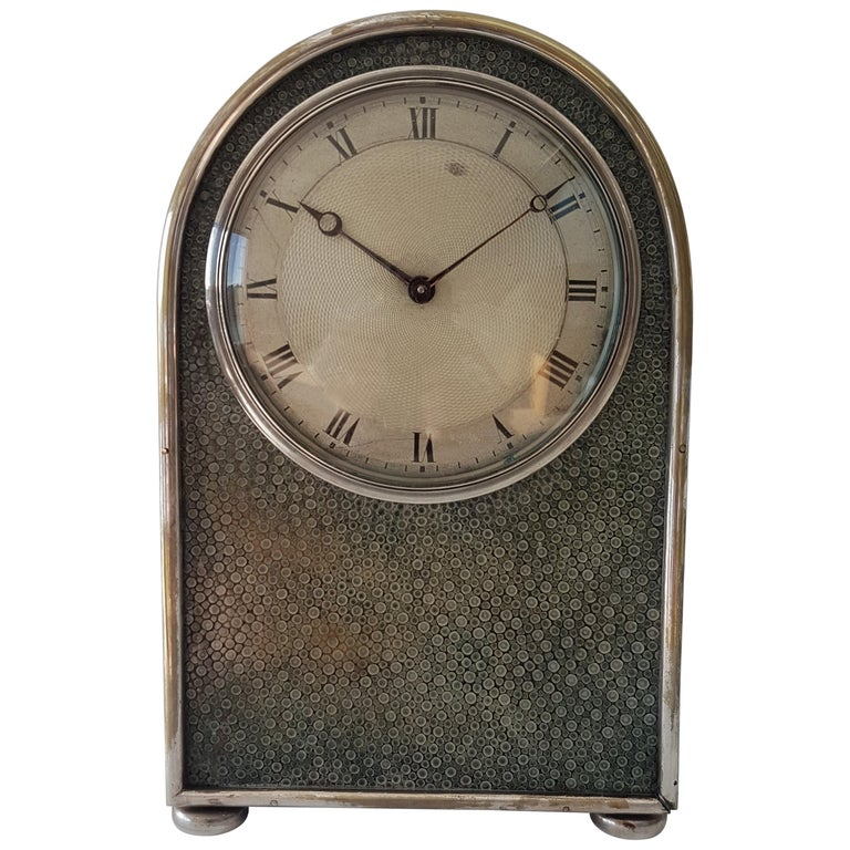 English Hump Backed Shagreen and Silvered Metal Mantel Clock Probably by Jump  For Sale