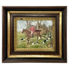 English Hunt Lithograph in Antique Frame