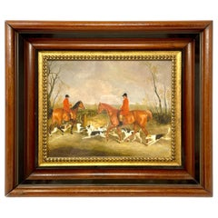 English Hunt Lithograph in Vintage Frame