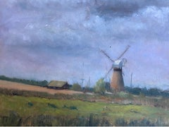 20th C English Impressionist Oil Windmill in Blue Sky Landscape