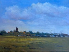 20th Century English Impressionist Oil Painting Norfolk Church & Estuary Scene