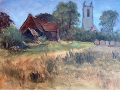 20th Century English Oil Painting - Rural Church in Harvest Field Landscape