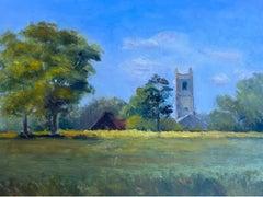 English Parish Church in Summer Landscape Rural Fields, 20th C English Oil