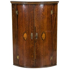 English Inlaid Bow Front Hanging Corner Cupboard