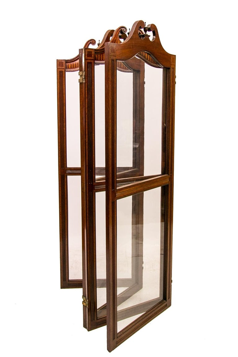 English Inlaid Four Paneled Folding Screen For Sale 4