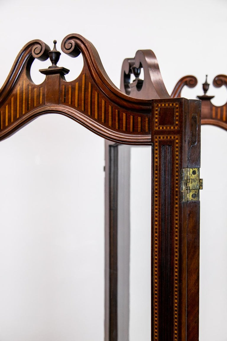 19th Century English Inlaid Four Paneled Folding Screen For Sale