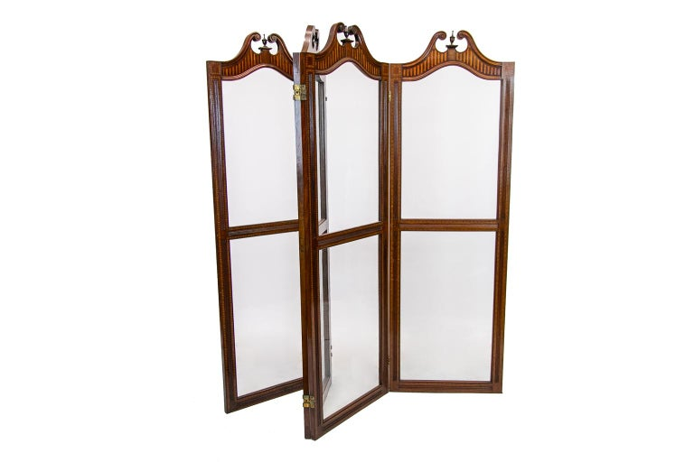 English Inlaid Four Paneled Folding Screen For Sale 1