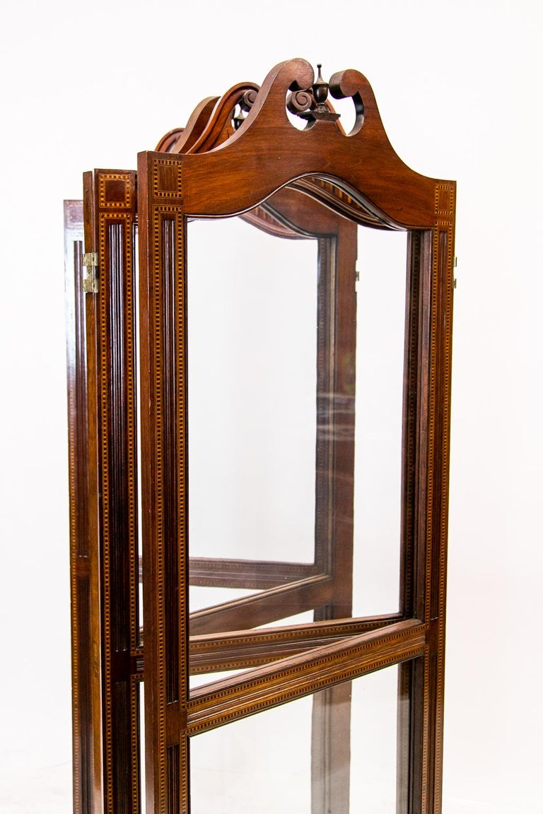 English Inlaid Four Paneled Folding Screen For Sale 3