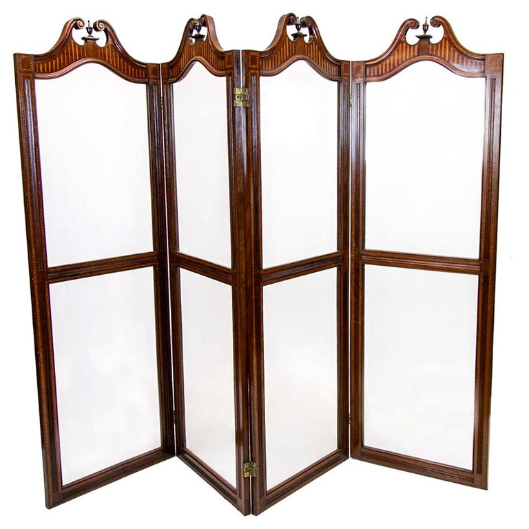 English Inlaid Four Paneled Folding Screen For Sale
